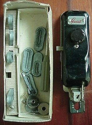 1956 Greist Sewing Machine Button Hole Attachment + Booklet & Accesories