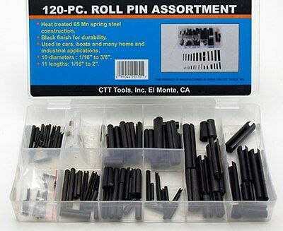 120 pc SAE ROLL PIN SPLIT TENSION SPRING SLOTTED DOWEL VARIETY ASSORTMENT KIT