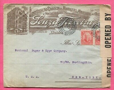Brazil 1918 Wwi Censored Advertising Cover To Usa