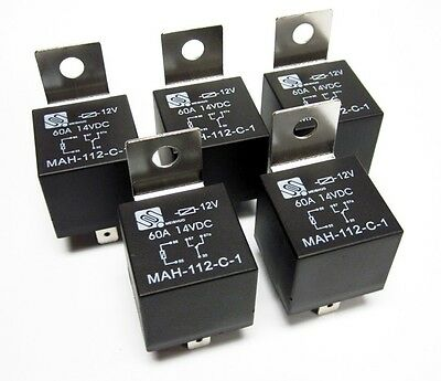 (5) 12V 12 Volt 60A Automotive Relays 60 Amp Metal Mounting Tab SPDT