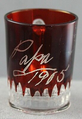 Estate - Antique Ruby Stain Pressed Glass Shot Glass Inscribed Papa Dated 1905