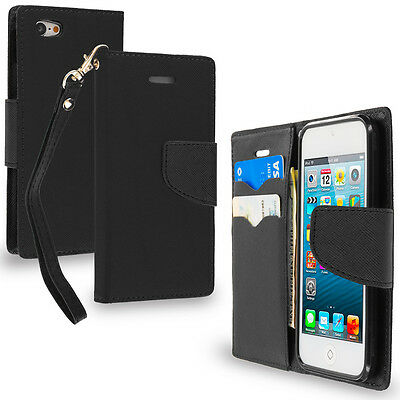 For iPod Touch 6th Gen Wallet Flip TPU Case Cover Credit Card Slots Black