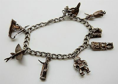 Vintage All Hawaiian Themed Sterling Silver Charm Bracelet with 8 Charms Hawaii