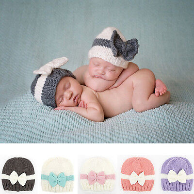 Newborn Infant Baby Girls Bow Bowknot Knit Crochet Cap Hat Prob Beanie Cute Hat