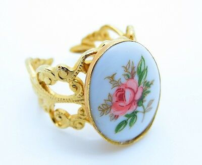 Vintage Pink Rose Cabochon Gold Plated Brass Filigree Setting Ring