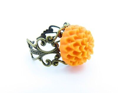 Vintage Inspired Womens Orange Chrysanthemum Antiqued Filigree Ring Adjustable