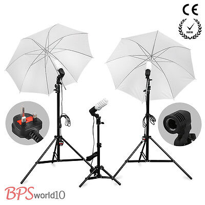 2016 Photo Soft Umbrella Continuous Lighting Kit Studio Light Stand+Bulb Lamp x3