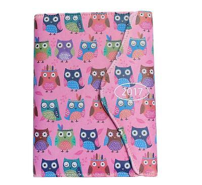 Pink 2017 A6 OWL Organiser Day a Page Index Diary with Pen