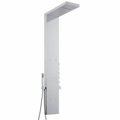 Chrome Exposed Thermostatic Shower Panel 5 Jet Handset Smooth Waterfall Bathroom