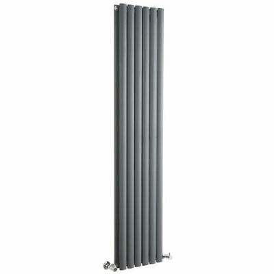 Anthracite Vertical Double Designer Radiator Upright Oval Colums Grey 1600 x 354