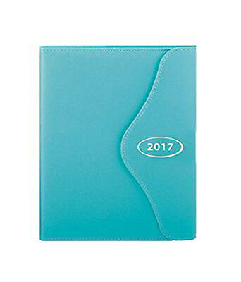 Teal Blue 2017 Diary A6 Executive Leather Effect Day a Page Monthly Index Diary