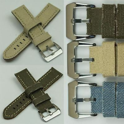 TOUGH Distressed Edge Canvas Denim Watch Band Strap Pre-V Buckle cotton vintage