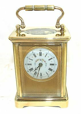 Antique French RICHARD & CIE Masked Dial Brass Carriage Clock & Key WORKING (64) • £325.00