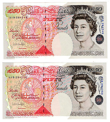Kentfield Consecutive Pair Of Unc Houblon Fifty Pound £50 Banknotes 1994 B377