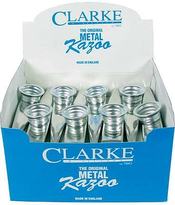24 silver coloured CLARKE METAL KAZOOS. Great quality and sound, British-made