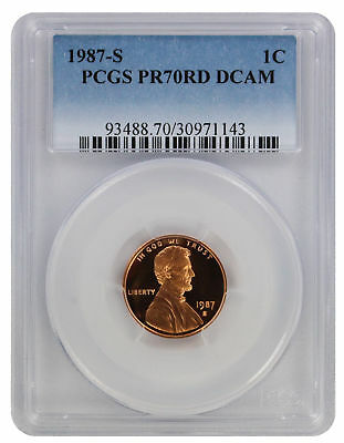 1987-S Lincoln Cent PR70RD DCAM PCGS Proof 70 Red Deep Cameo