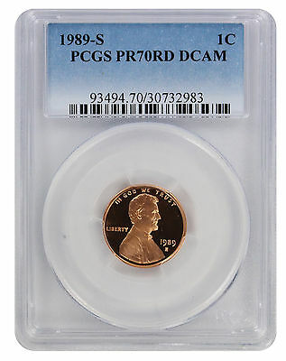 1989-S Lincoln Cent PR70RD DCAM PCGS Proof 70 Red Deep Cameo