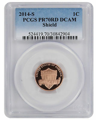 2014-S Shield Lincoln Cent PR70RD DCAM PCGS Proof 70 Red Deep Cameo