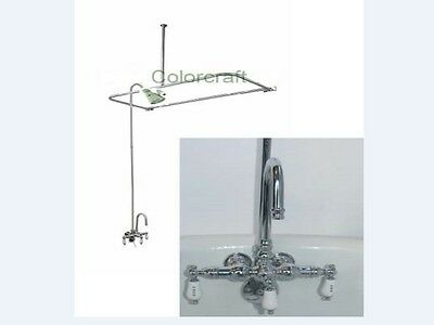 Add A Shower with D curtain rod and Vintage Faucet