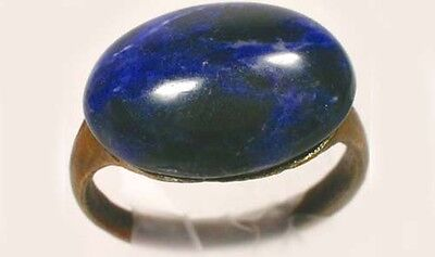AD300 Ancient Roman Pannonia (Hungary) Ring Sz9¼ + Antique 19thC 8ct Blue Agate