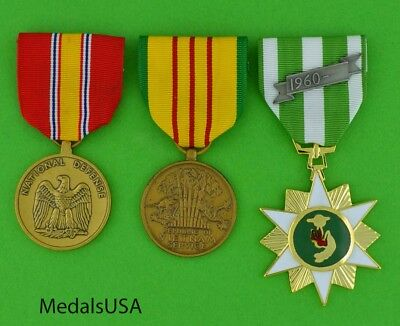 VIETNAM WAR SERVICE MEDALS - US ARMY NAVY AIR FORCE MARINES set of 3 full size