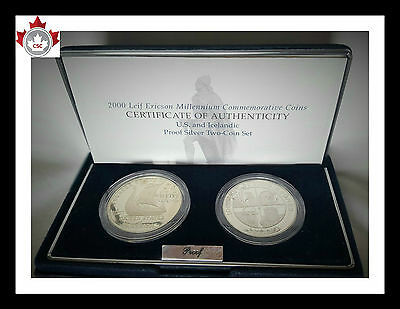 US Mint/Bank of Iceland LEIF ERICSON MILLENNIUM COINS Silver proof set Box&COA