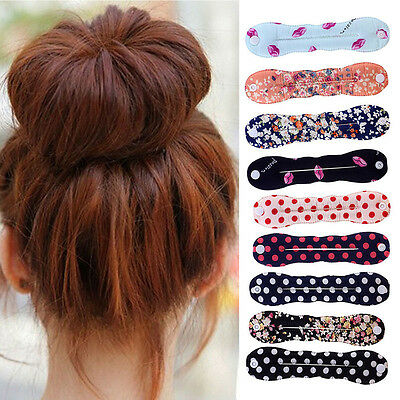 Fashion Women Girl Printed Magic Sponge Clip Hair Styling Bun Maker