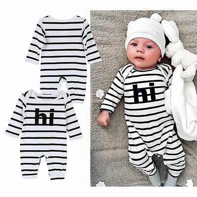 Newborn Baby Boy Girl Long Sleeve  Bodysuit Clothes Romper Outfits 0-24M