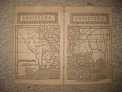 Superb Early Antique 1851 Louisiana Map New Orleans Detailed Rare Nr