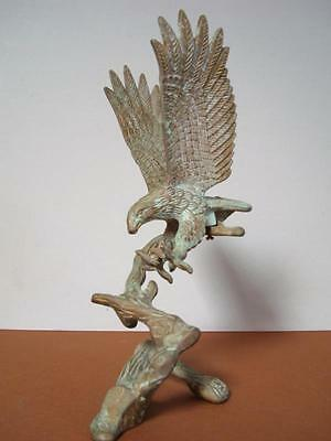 Vintage Brass American Bald Eagle on Tree Branch 9.75'' tall