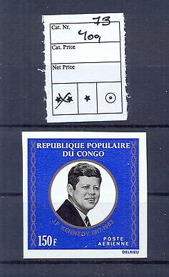 Congo 1973 Kennedy issue IMPERFORATE full set. VF and RRR