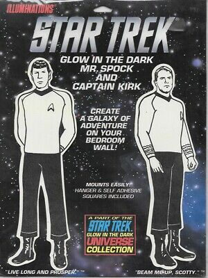 Star Trek Glow In The Dark Classic Mr. Spock and Capt. Kirk Hangings 1991 SEALED