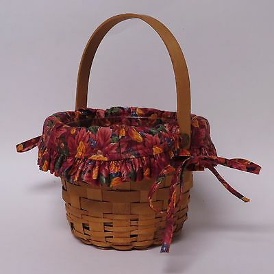 LONGABERGER 1999 Classic Small Fruit Basket w/ Fall Foliage Liner & Protector