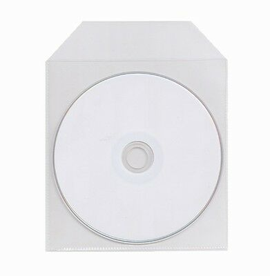 1000 Thin CPP Clear Plastic CD DVD Sleeve with Flap 60 Microns