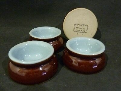 Vintage DENBY stoneware EGG CUP, LIGHT BLUE & BROWN, SET OF 4