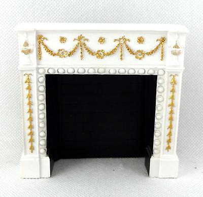 Dolls House Edwardian White & Gold Fireplace Falcon Miniature Furniture