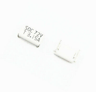 100Pcs SOC SMD SMT Slow Blow 1206 2.5A T2.5 Amp 72V Fuse