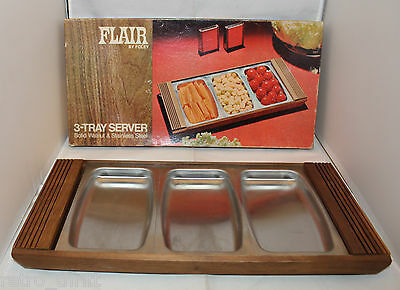 Mid Century Flair By Foley Solid Walnut Stainless Steel Party 3 Tray Server Dish