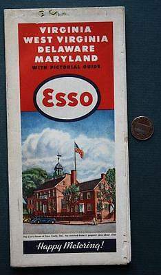 1946 ESSO Oil Gas service station Maryland-Delaware-West Virginia road map-COOL!