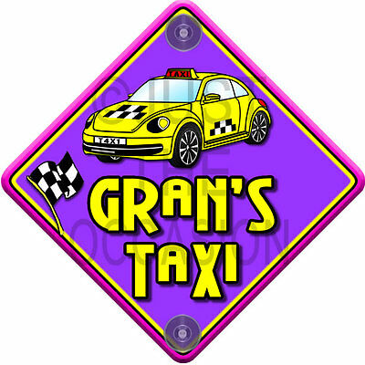 NEW Purple & Yellow ~ IMPACT GRAN'S TAXI ~ Novelty Baby on Board Car Window Sign