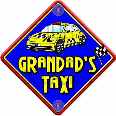 NEW ~ IMPACT GRANDAD'S TAXI ~ Novelty Baby on Board Car Window Sign