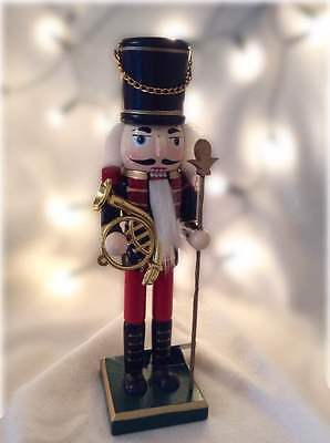 Gisela Graham Christmas Decoration Painted Wood Nutcracker French Horn Ornament