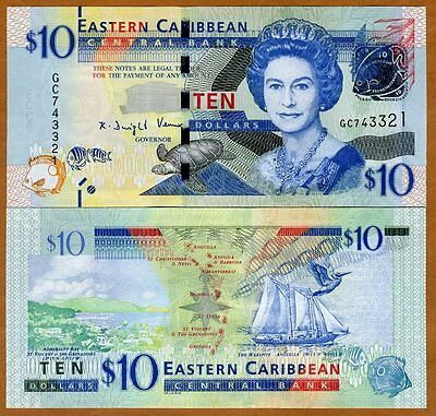Eastern East Caribbean, $10, ND (2016) , P-New, UNC   Upgraded