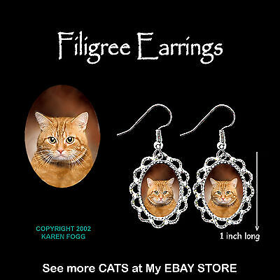 TABBY ORANGE SHORTHAIR Cat - SILVER FILIGREE EARRINGS Jewelry