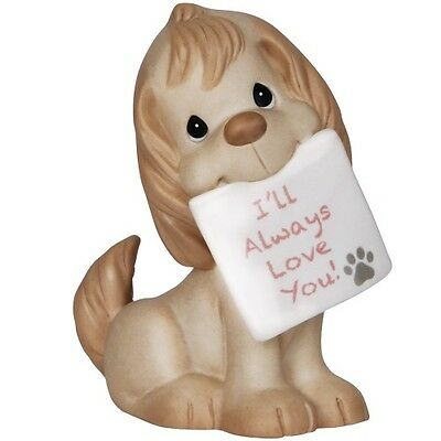 PRECIOUS MOMENTS Figurine I WILL ALWAYS LOVE YOU Porcelain Statue PUPPY DOG PAW