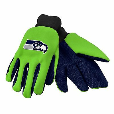 Seattle Seahawks Gloves Sports Logo Utility Work Garden NEW Colored Palm