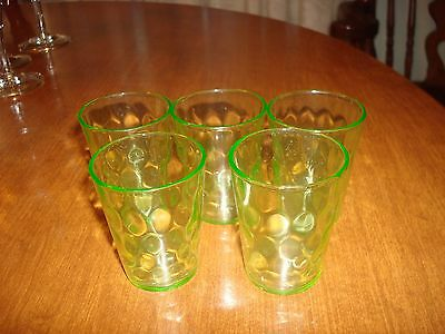 "5 Green Hex Optic 2 1/4"" Shot Glasses, Whiskey, by Jeannette Glass Co."