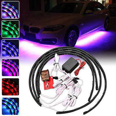 4x 7Color LED Strip Under Car Tube Underglow Underbody System Neon Light Kit 12W