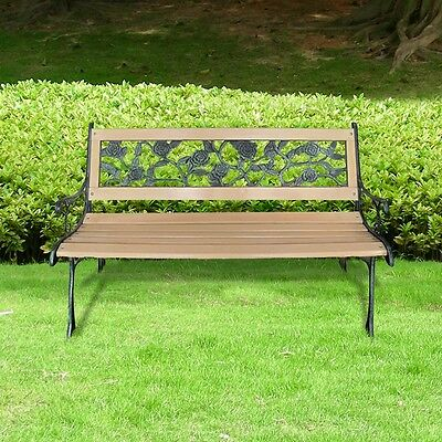 Garden Rose-patterned Bench Outdoor Cast Iron Chair Wood Seat Patio Furniture