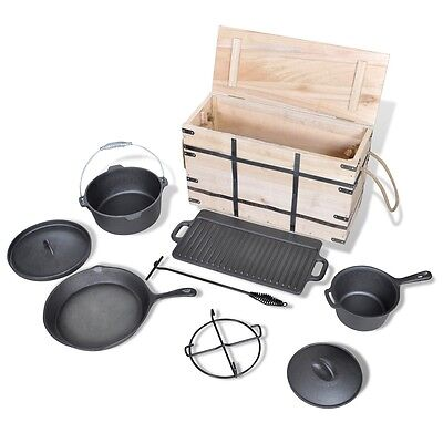 New 9 pcs Dutch Oven Cookware Set Outdoor Barbecue Picnic Camping Grill Pan